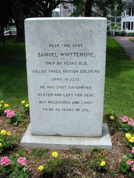 Samuel Whittemore Monument located in Arlington, Massachusetts