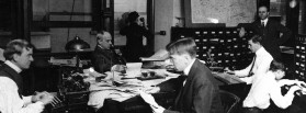 AP staffers at work in New York City headquarters, 195 Broadway, ca. 1912. (AP Photo)