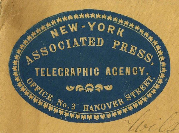 Earliest known version of the Associated Press logo, c.1849 to 1857.