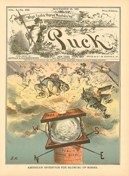 "Illustration from Puck, November 16, 1881, ""American Invention for Blowing Up Bosses."""