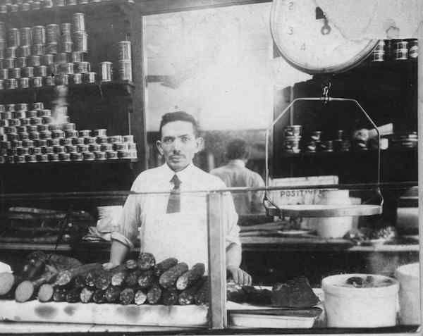 Morris Wepner and his deli in East Harlem, 1920
