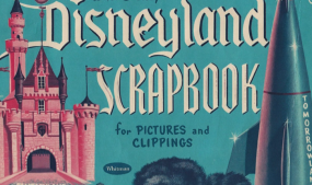 Souvenir Disneyland scrapbook with Frontierland's iconic symbols from 1955. Courtesy of Bethanee Bemis.