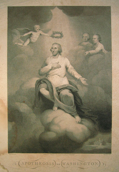 """The Apotheosis of Washington,"" an 1800 engraving of the first U.S. President by David Edwin."