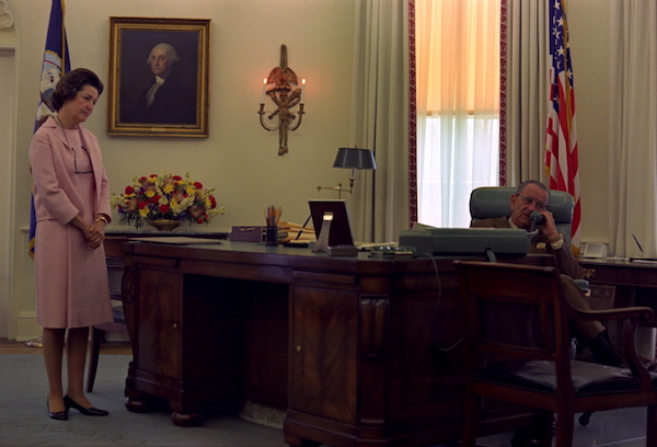 President Johnson and Lady Bird Johnson in the Oval Office on June 5, 1968, as President Johnson learns by phone of Robert F. Kennedy's death.