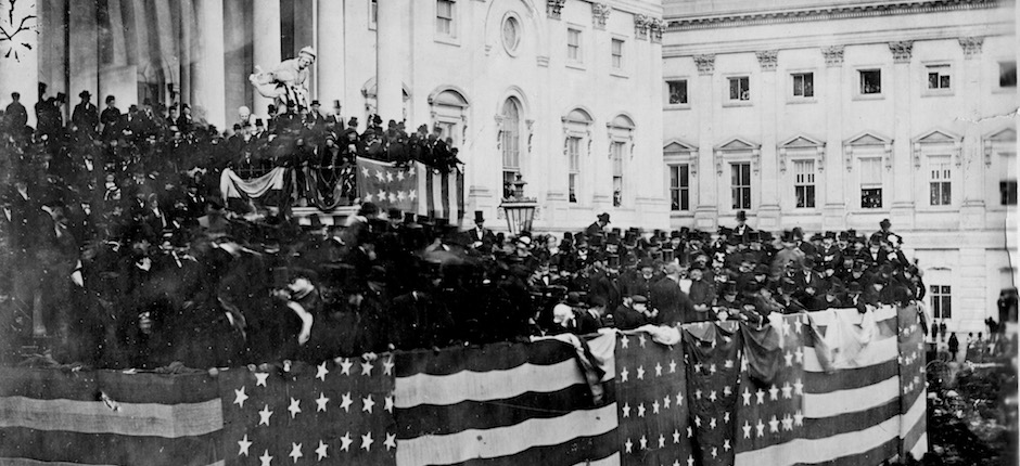 The public inauguration of Rutherford B. Hayes takes place in front of the U.S. Capitol on the East Portico in Washington, D.C., on March 5, 1877.   (AP Photo)