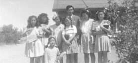 Japanese Americans attending a Sunday school class at the Poston War Relocation Center on the Colorado River in Arizona, about 1944. The author is not among those pictured. Courtesy of the Wada and Homma Family Collection/Densho Digital Repository.