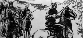 An illustration depicts Bald Knobbers riding in black horned masks. Courtesy of the Route 66 Museum and Research Center, Lebanon, Missouri.