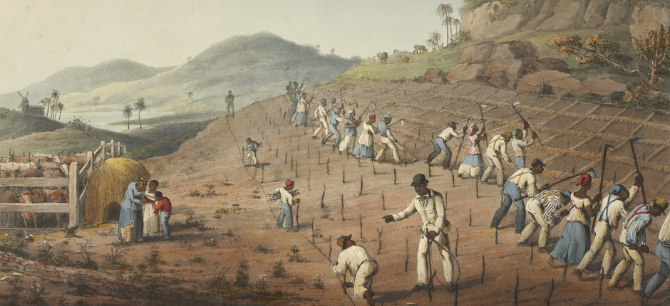Digging the Cane-holes—Ten Views in the Island of Antigua (1823), plate II. Image by William Clark. Courtesy of the British Library/Flickr.