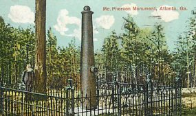 The McPerson Monument in East Atlanta, as rendered on an German-made 1880s postcard. Image courtesy of Henry Bryant and Katina Van Cronkhite.