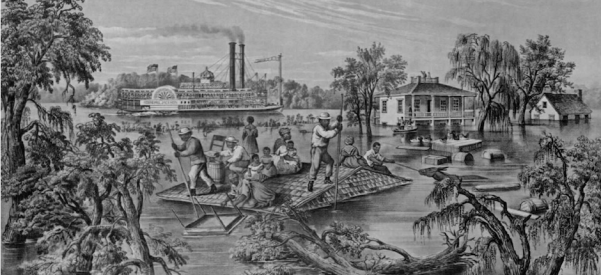 """Even images depicting floods and other disasters tended to romanticize the South, as in this lithograph by Frances F. Palmer, """"High Water in the Mississippi,"""" published in 1868 by Currier & Ives, and reprinted in The New York Times, May 1, 1927, when a major flood devastated the area."""