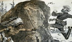 Caricature from Puck showing Gen. Oliver Otis Howard chasing an Indian around a rock; Aug. 7, 1878. Courtesy of Library of Congress Prints and Photographs Division.
