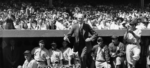 In 1949, 86-year-old baseball legend Connie Mack was honored in front of 65,000 fans at Yankee Stadium. The Philadelphia Athletics manager, known for his upright and gentle character, helped pave the way for an emerging Irish American establishment. Photo by Jacob Harris/Associated Press.