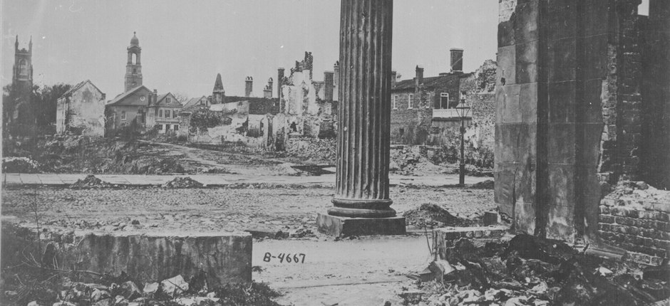 Ruins seen from the Circular Church, Charleston, S.C., 1865. Image courtesy of National Archives.