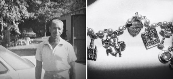 The author's grandfather, Frank (left); New Orleans charm bracelet, a gift from the author's grandfather (right). Images courtesy of Lynell George.