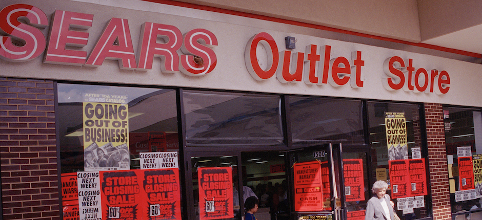 A Sears Outlet Store in Downers Grove, Illinois shuttered its doors in September, 1993. Photo by Charles Bennett/Associated Press.