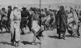 Sioux tribespeople taking part in the Ghost Dance, 1890, drawn by Frederic Remington based on sketches from Pine Ridge, South Dakota. Image courtesy of Library of Congress.
