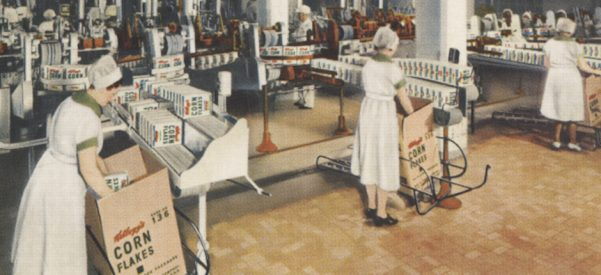 Women in a factory, boxing Kellogg's corn flakes. Image courtesy of Miami University Libraries, Digital Collections/Wikimedia Commons.