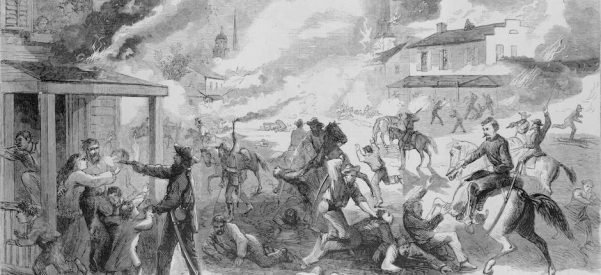 A print from Harper's showing Quantrill's raid on Lawrence, Kansas, August 21, 1863. Image courtesy of Library of Congress.