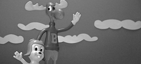 """Cornball Cartoon Cold Warriors: Rocky (with aviator cap) and Bullwinkle (in white gloves) kept kids entertained by regularly thwarting the Soviet-eseque """"Pottsylvanian"""" spies Boris Badenov and Natasha Fatale. Image courtesy of JD Hancock/Flickr."""