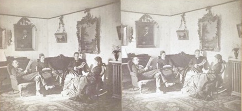 Parlor scene of G. Burk, Warwick, New York. 3D stereoscopic photos of house interiors in New York in the 1800's.