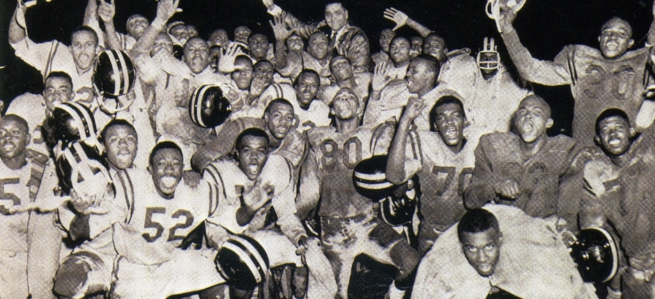 Austin Anderson's football team finished its 1961 season with a 20-13 state championship win at Jeppesen Stadium. Photo by Leroy Bookman.