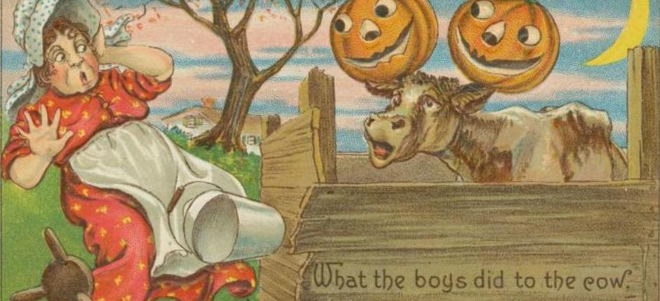 A 1908 postcard depicts Halloween mischief. Image courtesy of  The New York Public Library Digital Collections.