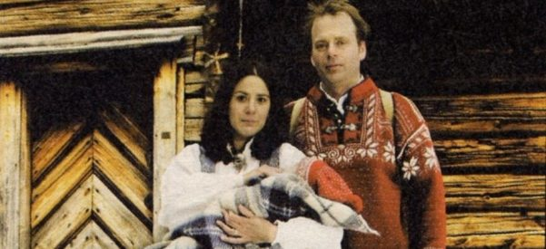 The author borrowed a Norwegian sweater, knickers, and a bunad to stage this photo in front of a quaint hytta to show everyone back in the Midwest that his family was fitting right in in Trondheim. Photo courtesy of Arild Juul.