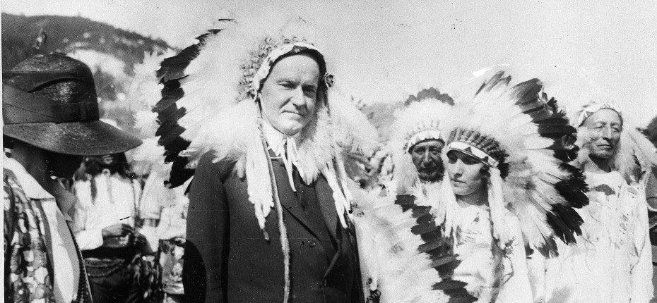 Calvin Coolidge's widely-publicized adoption into the Sioux tribe, 1927. Photo courtesy of Associated Press.