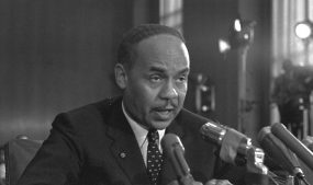 Ralph Ellison, the Oklahoma-born author of the 1952 classic Invisible Man, as a witness at a U.S. Senate Subcommittee hearing in Washington, D.C. on race and the problems confronting U.S. cities. Photo courtesy of Associated Press.