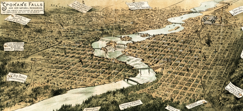 A map from the 1890s indicates how mining, water power, and other enterprises were turning Spokane into a boom town. Art courtesy of Wikimedia Commons.