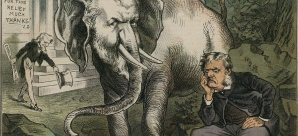 A Puck magazine cartoon expresses the fear that with Chester Arthur as president, U.S. Senator Roscoe Conkling, the all-powerful boss of the New York Republican machine, would be running the country. Art courtesy of Library of Congress.