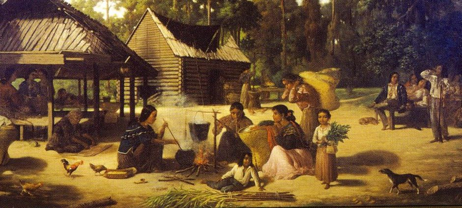 Painting of a Choctaw village, by François Bernard (1869). Image courtesy of Wikimedia Commons.