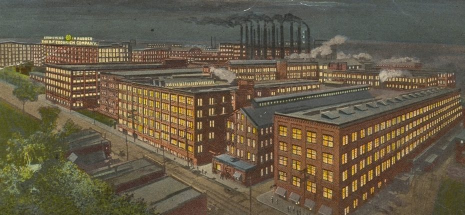 """Illustration of the B.F. Goodrich factories in Akron, Ohio, at one time the """"largest rubber plant in the world."""" Image courtesy of Wikimedia Commons."""