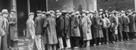Unemployed men queue outside a Chicago soup kitchen in 1931. Photo courtesy of Wikimedia Commons.