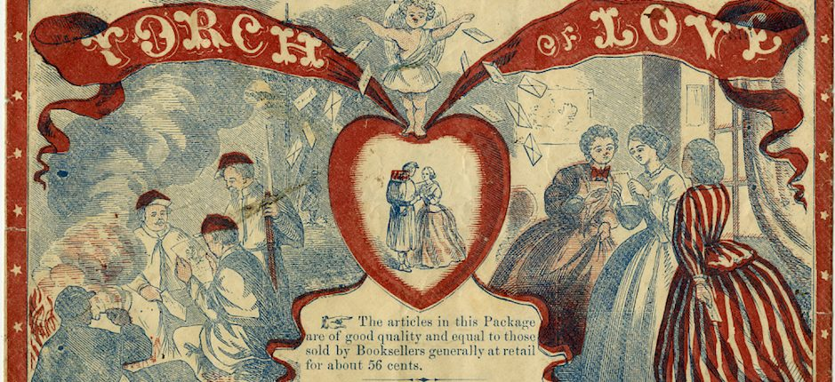 """Envelope for stationary packet, """"Torch of Love,"""" George W. Fisher Bookseller and Stationer, Rochester, New York. Image courtesy of the National Museum of American History."""