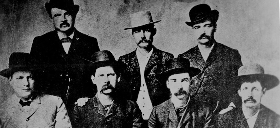 "The ""Dodge City Peace Commission,"" June, 1883. Wyatt Earp is seated, second from left. Photo courtesy of Wikimedia Commons."
