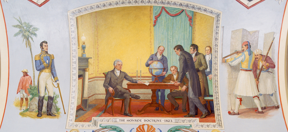Mural depicting (left to right) President James Monroe, Secretary of State John Quincy Adams, and other cabinet members. Image courtesy of Architects of the Capital/Wikimedia Commons.