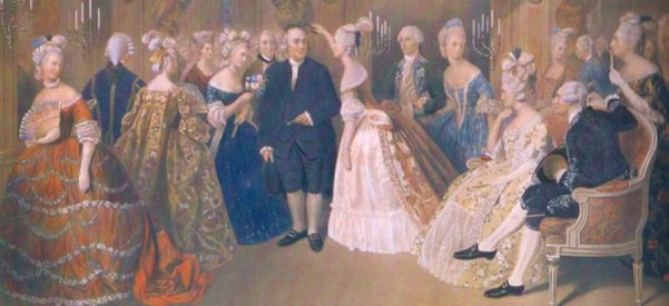 Benjamin Franklin surrounded by the ladies of the French court. Image courtesy of Wikimedia Commons.