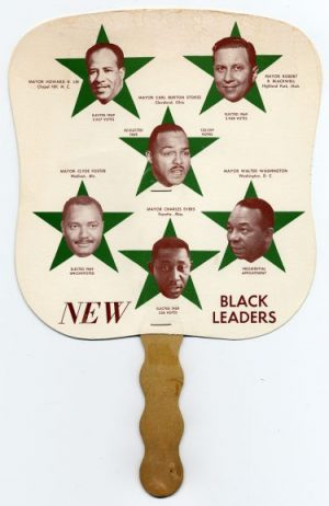 "A hand fan depicts Cleveland's Carl Stokes and other mayors who represented a generation of ""New Black Leaders"" in the late 1960s and early '70s. Image courtesy of The National Museum of American History."