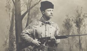 Theodore Roosevelt in deerskin hunting suit. Photo courtesy of Library of Congress.