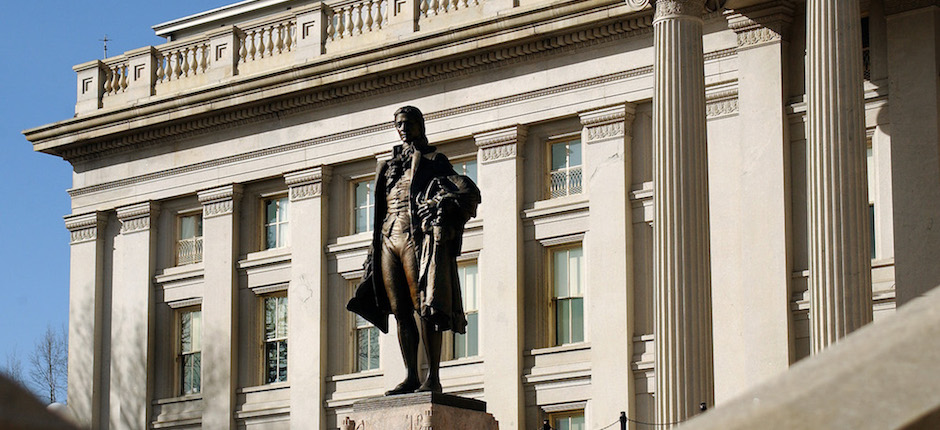 Statue of Alexander Hamilton, U.S. Treasury Building, Washington, D.C. Photo courtesy of Wikimedia Commons.