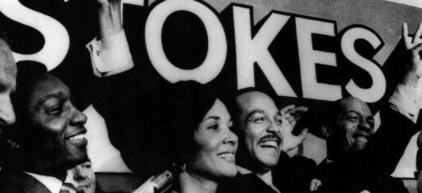 Cleveland Mayor Carl B. Stokes, flanked by his wife Shirley, gives the victory sign on Sept. 30, 1969, in Cleveland after winning Cleveland's Democratic mayoral primary as he sought his second term. Photo courtesy of Associated Press.