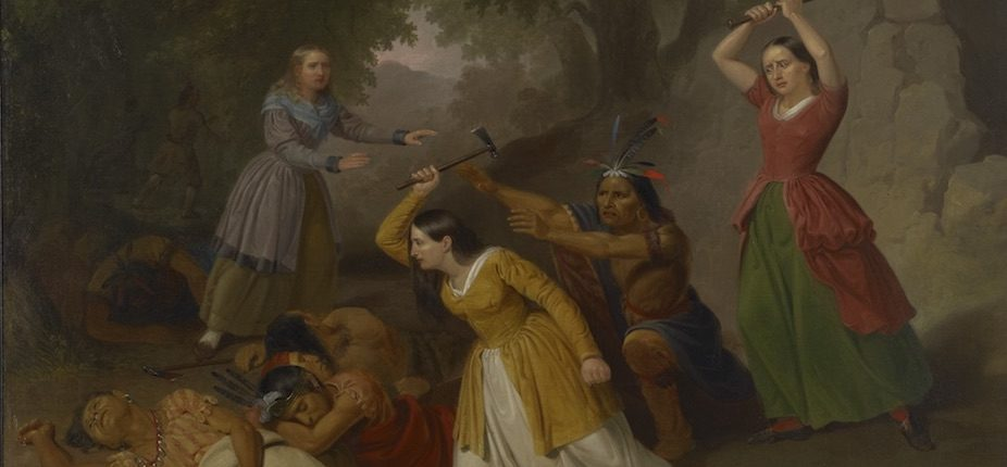 """Junius Brutus Stearns, """"Hannah Duston Killing the Indians"""" (1847). Oil on canvas. Courtesy of Colby College Museum of Art, Gift of R. Chase Lasbury and Sally Nan Lasbury."""