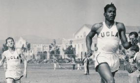 Tom Bradley running track at UCLA, circa 1939. Photo courtesy of the Charles E. Young Research Library, UCLA.